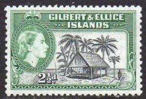 Gilbert & Ellice Islands 1956 2½d Native house  MH