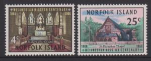 Norfolk Island 1966 Melanesian Mission Centenary Sc#97-98 MH