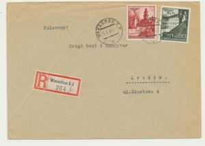 POLAND 1941 GENERAL GOVT, REG COVER WARSAW TO KRAKOW (SEE BELOW)