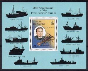 Tristan Da Cunha 1997 Sc#617 LOBSTER MARINE LIFE SHIPS Souvenir Sheet (1) MNH