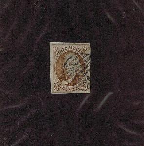 SC# 1b USED 5 CENT FRANKLIN, 1847, BLACK GRID CANCEL, 2019 PF CERT LOOK