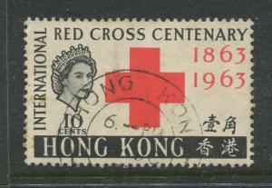 Hong Kong - Scott 219 - Red Cross Issue -1963 - FU - Single 10c Stamp