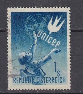 J29462, 1949 austria set of 1 used #559 unicef