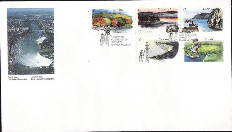 Canada-Sc#1408-12-stamps on FDC-Heritage Rivers-1992-