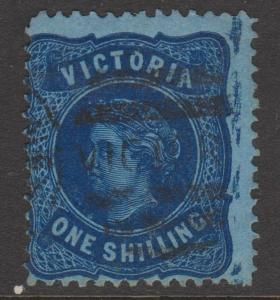 Victoria 1873 QV 1 Shilling blue on Blue Sc#138 Used Flaw