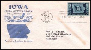 US 942 Iowa Statehood Grimsland Typed FDC