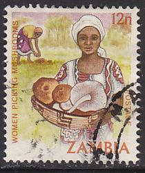 Zambia 244a Hinged Used 1983 Picking Mushrooms