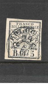 PAPAL  STATES  1852-64  5b  PALE ROSE   FU     SG 21