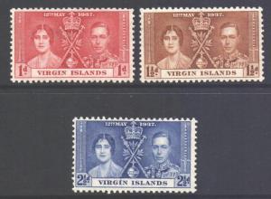 Virgin Islands BVI Scott 73/75 - SG107/109, 1937 Coronation Set MH*