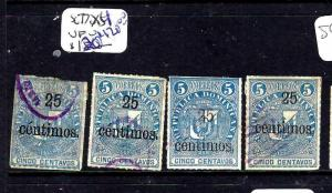 DOMINICAN REPUBLIC   (PP2302B)  25C  SURCH   SC 77 X 4  DIFF TYPES OVPT VFU