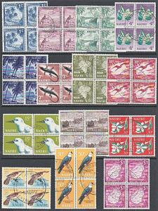 NAURU 1966 Definitive set in fine used blocks of 4.........................29024