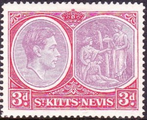 ST KITTS-NEVIS 1949 3d Rose Lilac & Bright Scarlet SG73f MH