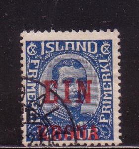 Iceland Sc 150 1926 1 kr ovpt on 40 aur stamp used