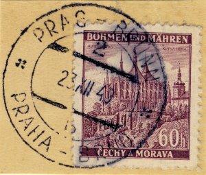 BÖHMEN u. MAHREN 1940 PRAG-BRÜNN / PRAHA-BRNO TPO n°2b bilingual CDS on Mi.27