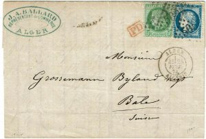 Algeria 1874 Alger 5005 grid cancel on cover to Switzerland