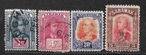 COLLECTION LOT OF 4 SARAWAK 1918+ STAMPS CV + $19