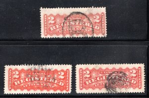 F1, F1a and F1i, 3 shades, 2c, Registration Stamps, Used,Canada