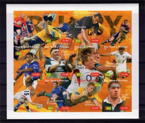Sao Tome & Principe 2004 Rugby Players Sheet Imperforated mnh.vf