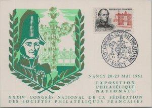 FRANCE POSTAL HISTORY CACHET POSTCARD COMM PHILA EXPO SPECIAL CANCEL YR'1961