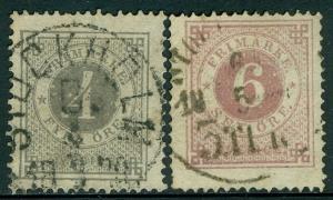 SWEDEN : 1872-77. Scott #18, 20 Both Very Fine, Used. Catalog $175.00.