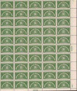 US Stamp - 1940 15c Special Handling - 50 Stamp Sheet VF/XF MNH - Scott #QE2