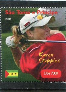 Sao Tome & principe 2004 GOLF Karen Stupples English 1v Perforated Mint (NH)