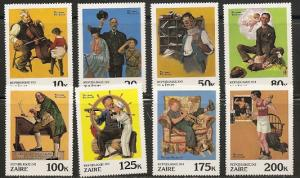 Zaire 1005-12 1981 Rockwell Paintings set NH