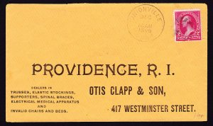 1895 OTIS CLAPP & SON ADVERTISING COVER WITH 2 CENT WASHINGTON + BACKSTAMP