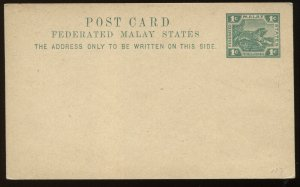 Malaya Federated States 1 cent green Post card unused