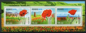 Kyrgyzstan Flowers Stamps 2019 MNH Flora Poppy Poppies Nature 3v M/S