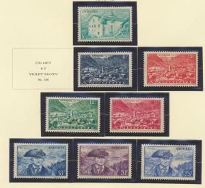 Andorra (French) Stamp Scott #105//113, Mint Hinged, Short Set Missing 106 - ...