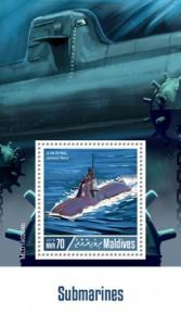 MALDIVES - 2019 - Submarines  - Perf Souv Sheet - MNH