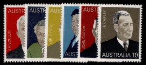 AUSTRALIA QEII SG590-595, 1975 famous Austalians set, NH MINT.