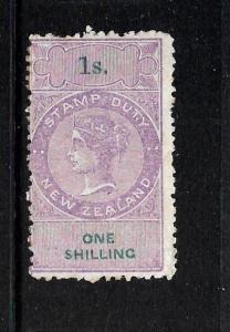 NEW ZEALAND  1867 1/-   QV  REVENUE FU  POSTAL CANCEL P12 1/2  KIWI R272