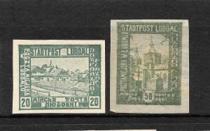 POLAND  LUBOME 1918  20h & 50h  LOCALS  IMPERF  MH/MNG