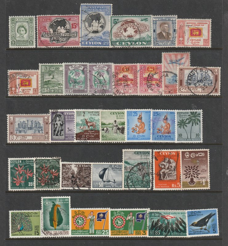 Ceylon a mainly early QE2 era used with odd mint