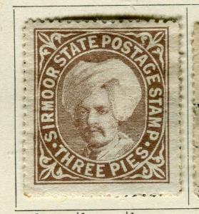 INDIA; SIRMOOR 1885-96 Raja Parkash early classic local issue Mint 3p. value