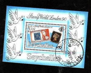 Seychelles-Sc#708- id7-used sheet-Stamp on Stamp-Penny Black-Exhibition-1990-