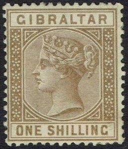 GIBRALTAR 1886 QV 1/- 75% GUM