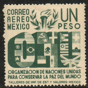 MEXICO C159, $1P Honoring the United Nations. Mint, NH. VF.