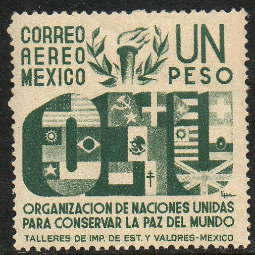 MEXICO C159, $1P Honoring the United Nations. UNUSED, H OG. VF.