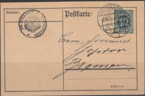 Germany - 17.6.1922 1.25M as single franking on PC to Bremen (5223)