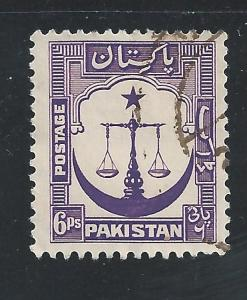 Pakistan #25a 6p Scales, Star and Crescent