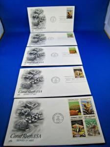 U.S. FIRST DAY COVER SETS - SET of 5 - 1980 CORAL REEFS USA   (FDC-28x)