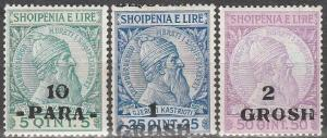 Albania #48, 50-1 F-VF Unused  CV $14.25 (D1088)