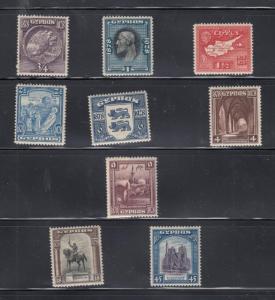CYPRUS # 114-122 VF-MLH VARIOUS DESIGNS CAT VALUE $137