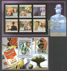 BC146 2012 GUINEA ART FAMOUS PAINTINGS 1962 PICASSO MAGRITTE WARHOL 1KB+1BL MNH