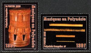 French Polynesia 901-902, MNH. Musical Instruments. Drum, Nose flutes, 2005