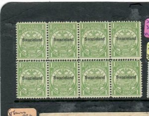 SWAZILAND (P1812B)   1/-   SG 3  BLOCK OF 6  MNH  ANTIQUE OVER 100 YEARS IN AGE