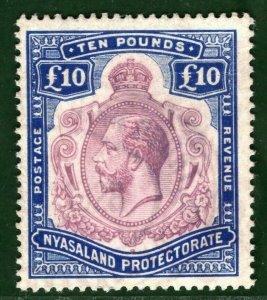 NYASALAND KGV Stamp Scott.24 £10 Key Plate High Value VFU Light Cancel* BLUE12